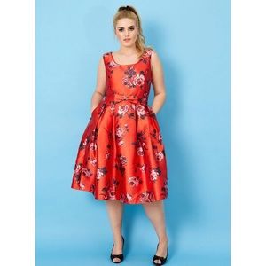 50s Red Floral Special Occasion Dress